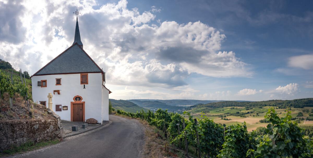 Blick auf die Paulskirche, vorbeilaufende Straße, Weinberge, wolkiger Himmel