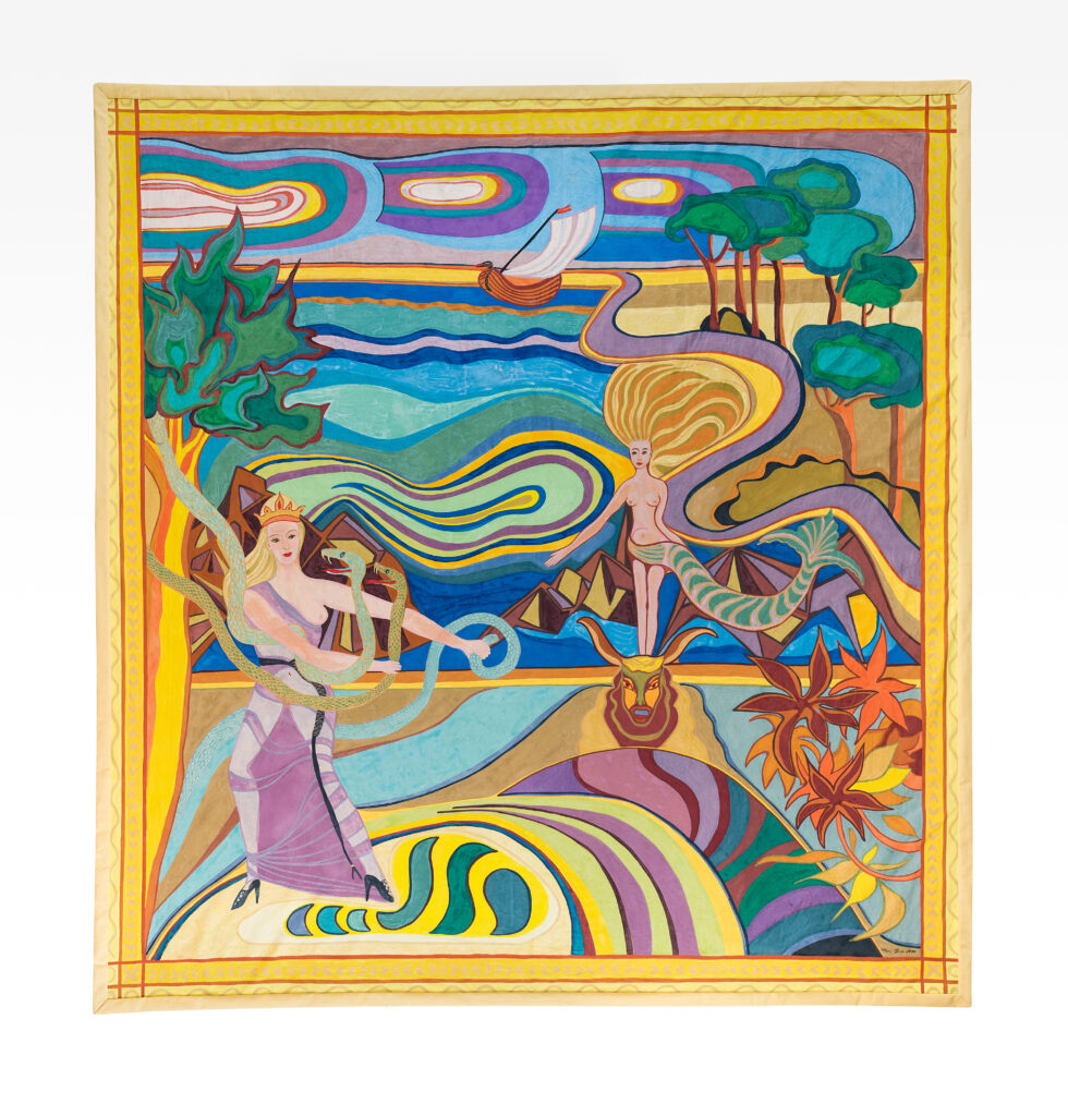 Mobiles farbenfrohes Fresko der Künstlerin Mana Binz auf Leinwand